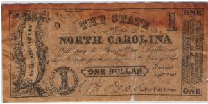 $1 State of North Carolina Banknote