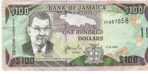 76 $ 100     Sangster/ Dunn's River falls Banknote