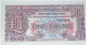 British Armed Forces. 2nd Series. 1 Pound. AA Series. Banknote