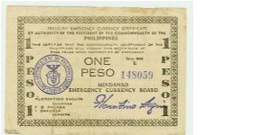 WWII PHILIPPINES 1 PESO GUERILLA/EMERGENCY NOTE. Banknote