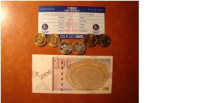 commemorativ set of coins 2000 with comemorativ banknote
