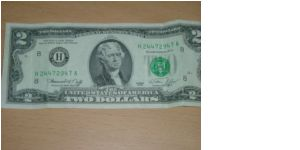 2 dollars, bicentennial year, Federal Reserve Bank of St. Louis, Missouri Banknote