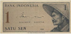 1 Cent Volunteers Series. Signed By Jusuf Muda Dalam & Hertatijanto(O)A Peasant(R)Number 1.104x52mm Banknote