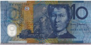 Australia 1993 10 dollars. Note of the deep blue print. Discontinued in the next year. Banknote