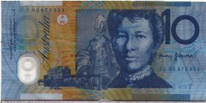 Australia 1993 10 dollars. Note of the extreme dark blue print. Discontinued in 1994. Banknote