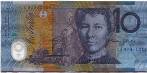 Australia 1994 10 dollars. Serial number printed way to the right. Banknote