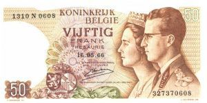Brown-violet and ornage-brown on multicolour underprint. Arms at lower left Center. King Baudouin I and Gueen Fabiola at right. Parliament building in Brussels on back. Watermark: Baudouin I. Signature 18, 19, 20, 21. Banknote