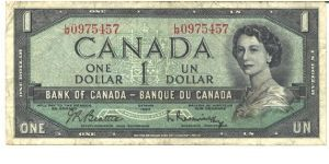 Black on green underprint. Like #66 but Queen's hair in modified style. Western prairie scene. Printer: CNBC. Banknote