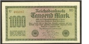 Germany 1000 Marks (reichsbanknote) 1922 (dated 15 September 1922) P76c Banknote