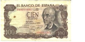 Brown on pale orange and multicolour underprint. Manuel de Falla at right and as watermark. The summer residence of the Moorish kings in Granada (Alhambra) at left center on back. Banknote
