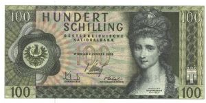 Dark green on multicolour underprint.Angelika Kauffmann at right. Large house on back. Banknote