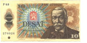 Deep brown on blue and multicolour underprint. Pavol Orszag-Hviezdoslav at right. Bird at lower left, view of Orava mountains on back. Series prefix J, P, V. Banknote