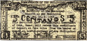 SMR-571 Samar 5 centavos note, different reverse. Banknote