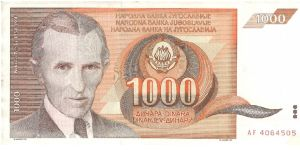 Brown and orange. N. Telsa at left and as watermark. High frequency transformer on back. Banknote