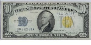 1934 A $10 YELLOW SEAL NORTH AFRICA SILVER CERTIFICATE Banknote