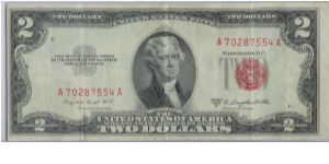 1953 B $2 RED SEAL Banknote