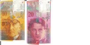 10 and 20 Swiss Franken Banknote