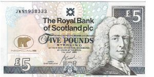 Royal Bank of Scotland pcl. Jack Nicklaus, 5 pounds Sterling. Banknote