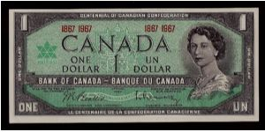 bank of canada centennial one dollar bill 1867 1967 ottawa 1967 in