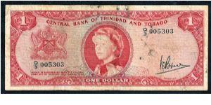 Central Bank Of Trinidad And Tobago 1 Dollar 1964 P 26c Q 3 005303 Very Poor Worn Condition