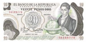 Colombia 20 pesos January 01 1982.