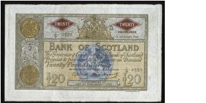 P-94f Bank of Scotland 20 pounds. Date 12th September 1960.