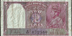 India N.D. 2 Rupees. Banknote