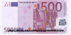 500EURO EUROPE (Currency money)(2002)  Banknote