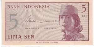Indonesia 5 Sen. Banknote for SWAP/SELL. SELL PRICE IS: $0.5 Banknote
