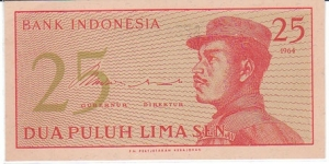 Indonesia 25 Sen. Banknote for SWAP/SELL. SELL PRICE IS: $1.0 Banknote