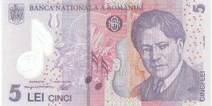 Romania 5 Lei (polymer). Banknote for SWAP/SELL. SELL PRICE IS: $3.0 Banknote