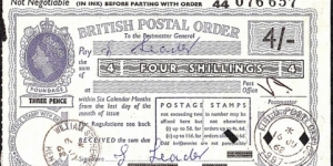 B.F.P.O. 997 1962 4 Shillings postal order.