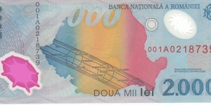 Romania 2000 Lei (polymer) in Folder (Collector Series). Banknote for SWAP/SELL. SELL PRICE IS: $3.0 Banknote