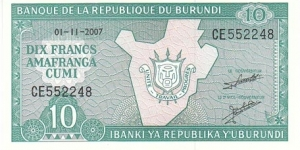 Burundi 10 Francs. Banknote for SELL. SELL PRICE IS: $0.5 Banknote