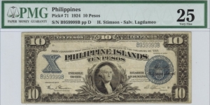 p71 1924 10 Peso Philippine Islands Treasury Certificate (PMG Very Fine 25) Banknote