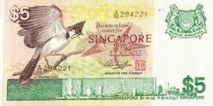 Front design : Red-whiskered Bulbul Back design : Cable cars and aerial view of the harbour Colour : Green Size of note : 133 mm x 66 mm First issued : 6 August 1976 Banknote