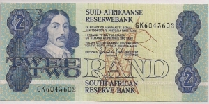 South Africa 2 Rand P118b 1981-1990. Banknote