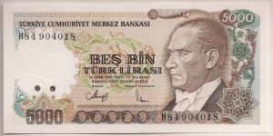 Turkey 5000 Lira 1990 P198. Banknote