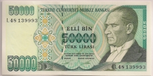 Turkey 50000 Lira 1995 P204. Banknote