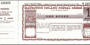 Mauritius 1986 1 Rupee postal order.