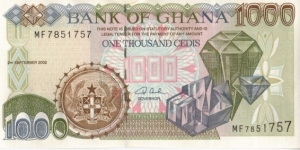 Ghana 1000 Cedis Note Diamonds on front and cocoa harvestors on back Banknote