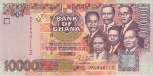 Ghana 10000 Cedis 2003 Freedom Arch on back and Six major National Heros on front Banknote