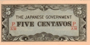 PI-103 Philippine 5 centavos note under Japan rule, fractional block letters P/AM Banknote
