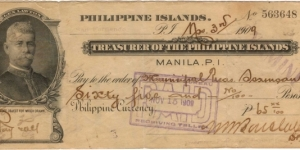 Treasurer of the Philippine Islands General Lawton Check Banknote