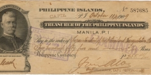 Treasurer of the Philippine Islands General Lawton Check. Banknote