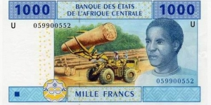 1000 francs CFA - issue for Cantral African States. (U) 2002. Banknote