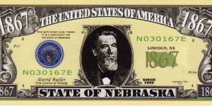 1867 State of Nebraska__ pk# NL__ (ACC American Art Classics)__ Not Legal Tender  Banknote
