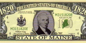 1820 State of Maine__ pk# NL__ (ACC American Art Classics)__ Not Legal Tender  Banknote
