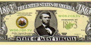 1863 State of West Virginia__ pk# NL__ (ACC American Art Classics)__ Not Legal Tender  Banknote