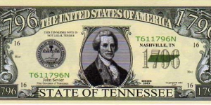 1796 State of Tennessee__ pk# NL__ (ACC American Art Classics)__ Not Legal Tender  Banknote